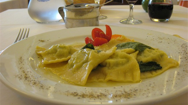 Delicious fresh handmade pasta with a generous glass of fine sangiovese wine