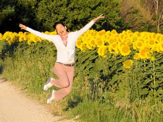 Jumping for joy in Provence