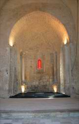 The interior of a newly restored 12th century chapel