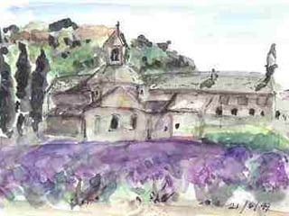 Watercolor of an ancient Cistercian abbey and lavender field