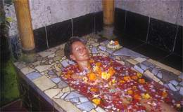 At the end of your 2 hour Mandi Lulur treatment time to relax in a luxurious bath of fragrant tropical flowers