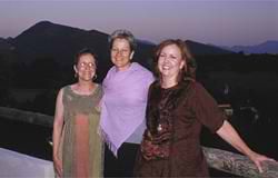 Robbi with Ann and Phyllis from the USA in Drome Provencale on the terrace after dinner
