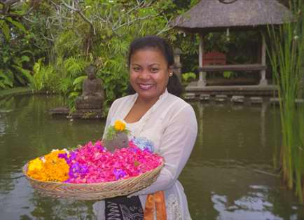 Beautiful Made ( marday ) with daily offerings in Ubud Bali